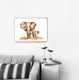 Fine Art Print vom Original-Aquarell Elefanten - Handarbeit kaufen
