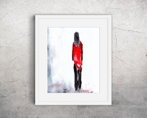 Fine Art Print des Original-Aquarells, Frau mit roter Jacke, in verschiedenen Größen erhältlich - Handarbeit kaufen