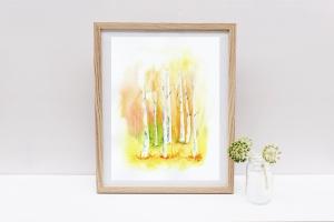 Birkenwald, Fine Art Print vom Originalen Aquarell - Handarbeit kaufen