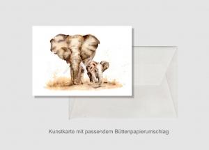 Kunstkarte incl. Büttenumschlag Fine Art Print des Aquarelles, Elefanten - Handarbeit kaufen