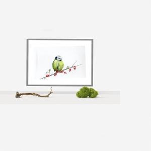 Fine Art Print des handgemalten Aquarells , Meise - Handarbeit kaufen