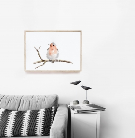 Fine Art Print des handgemalten Aquarells , Rotkehlchen - Handarbeit kaufen