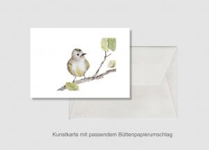 Kunstkarte incl. Büttenumschlag Fine Art Print des Aquarelles, kleiner Spatz - Handarbeit kaufen