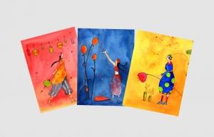 Drei Kunstkarten incl. Umschlag, Frauenkarten, Künstlerpostkarten mit partiellem Lack