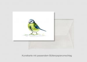 Kunstkarte incl. Büttenumschlag Fine Art Print des Aquarelles, Kleine Meise - Handarbeit kaufen