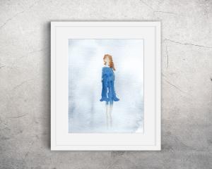 Fine Art Print des Original-Aquarells, Frau mit blauem Kleid, in verschiedenen Größen erhältlich - Handarbeit kaufen