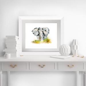 Fine Art Print vom Original-Aquarell Elefant - Handarbeit kaufen