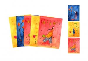 Fünf Kunstkarten incl. Umschlag, Frauenkarten, Künstlerpostkarten mit partiellem Lack gemischt - Handarbeit kaufen