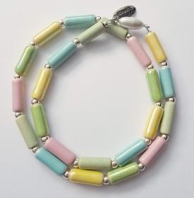 Keramikkette Röhrchen Pastell Rosa-Gelb-Grün Lack Kugel HÄ