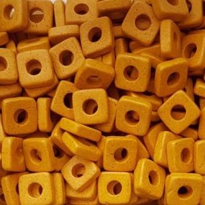 100 Keramikperlen Plättchen Spacer 6x6mm T6-1028 gelb