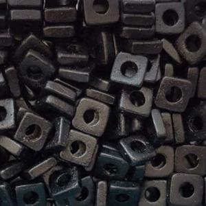 100 Keramikperlen Plättchen Spacer 6x6mm T6-1000 schwarz