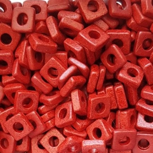 100 Keramikperlen Plättchen Spacer 6x6mm T6-1033 rot