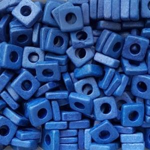 100 Keramikperlen Plättchen Spacer 6x6mm T6-1053 royalblau - Handarbeit kaufen