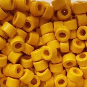 100 Keramikperlen Röhrchen Zwischenstück RM1028 gelb
