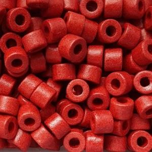 100 Keramikperlen Röhrchen Zwischenstück RM1033 rot