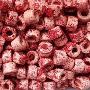 100 Keramikperlen Röhrchen Zwischenstück RM1215 rosa-weinrot picasso