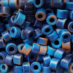 100 Keramikperlen Röhrchen Zwischenstück RM1307 dunkelblau ravel
