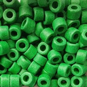 100 Keramikperlen Röhrchen Zwischenstück RM1018 grasgrün - Handarbeit kaufen