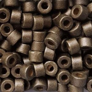 100 Keramikperlen Röhrchen Zwischenstück RM1409 metallic olivbraun - Handarbeit kaufen
