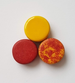 3 Keramikperlen Disc Scheibe PB Farbenset 4 - Handarbeit kaufen