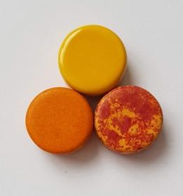 3 Keramikperlen Disc Scheibe PB Farbenset 5 - Handarbeit kaufen