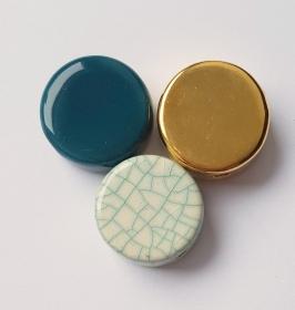3 Keramikperlen Disc Scheibe PB Farbenset 25 - Handarbeit kaufen