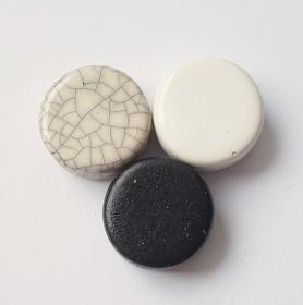 3 Keramikperlen Disc Scheibe PB Farbenset 8 - Handarbeit kaufen