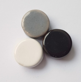 3 Keramikperlen Disc Scheibe PB Farbenset 12 - Handarbeit kaufen