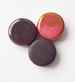 3 Keramikperlen Disc Scheibe PB Farbenset 19 dunkelviolett und bonbonrosa OiW - Handarbeit kaufen