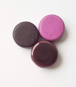 3 Keramikperlen Disc Scheibe PB Farbenset 20 dunkelviolett und lila