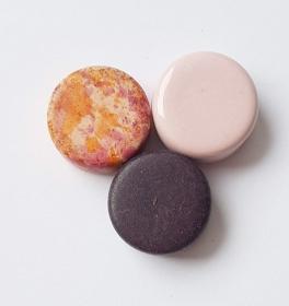 3 Keramikperlen Disc Scheibe PB Farbenset 23