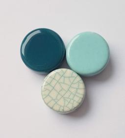 3 Keramikperlen Disc Scheibe PB Farbenset 24 - Handarbeit kaufen