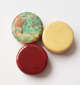 3 Keramikperlen Disc Scheibe PB Farbenset 29 - Handarbeit kaufen