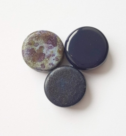 3 Keramikperlen Disc Scheibe PB Farbenset 35 nachtblau - Handarbeit kaufen