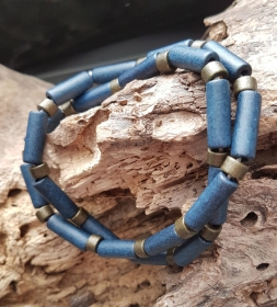 Männerkette Herrenkette Surferkette Keramikkette kurz nachtblau-metallic oliv