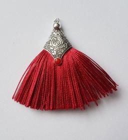 2 Tasseln Quasten Tibet mit Metalleinfassung rot