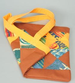 Shopper Tasche genäht Handarbeit Patchwork bunt gelb braun Geschenk kaufen - Handarbeit kaufen