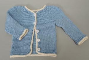 Babyjäckchen handgestrickt hellblau Gr. 62 Wolle Geschenk kaufen