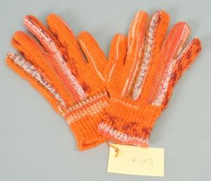 Finger-Handschuhe Wollhandschuhe handgestrickt orange Gr.7-7½ Wolle kaufen   - Handarbeit kaufen