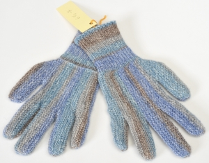 Finger-Handschuhe Wollhandschuhe handgestrickt blau-beige Gr.6 1/2 - 7 Wolle kaufen  - Handarbeit kaufen