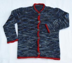 Kinderjacke handgestrickt Wolle grau blau meliert Gr.98 kaufen
