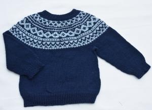 Baby Kinder Pullover Island handgestrickt blau Gr. 86/92 Merino Baumwolle kaufen - Handarbeit kaufen