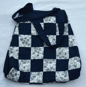 Shopper Handtasche Patchwork Handarbeit blau Baumwolle kaufen - Handarbeit kaufen