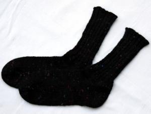 Wollsocken  Stricksocken handgestrickt schwarz mit bunten Noppen Gr.40