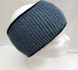 Stirnband gestrickt gefüttert blaugrau-marine für Herren  Alpaka-Mischung kaufen  - Handarbeit kaufen