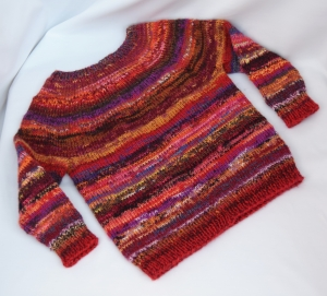 Kinder Strick-Pullover handgestrickt rot Gr.92 Wolle Unikat