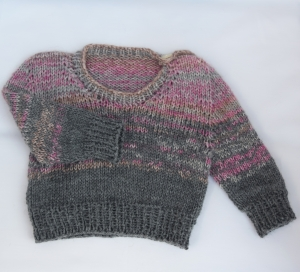 Babypullover Gr. 62 Mädchen rosa-grau handgestrickt Wolle