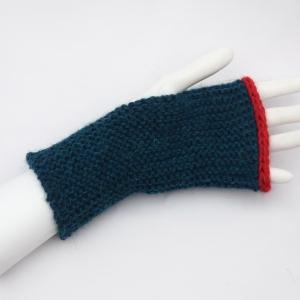 Armstulpen mit Daumenloch handgestrickt ozeangrün Alpaka  - Handarbeit kaufen