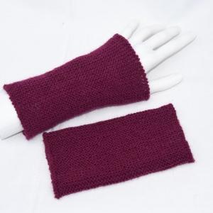Armstulpen Pulswärmer handgestrickt weinrot mit Alpaka - Handarbeit kaufen