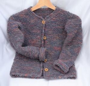 Strickjacke für Mädchen 6-8 J., kuschelig warm und leicht, blaugrau-rosa, handgestrickt - Handarbeit kaufen